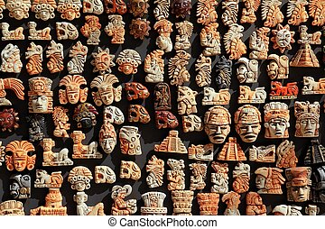 mayan, mexico, hout, handcrafts, in, jungle