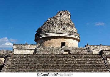 mayan, observatório, el, caracol, em, chichen itza