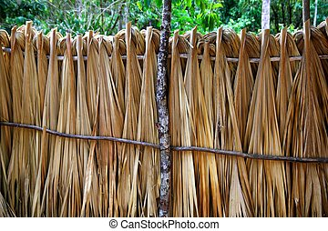 Mayan palm tree leaves wood fence in rainforest