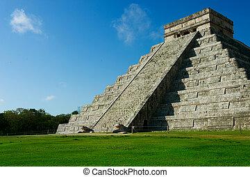 mayan, piramide, chichen itza, mexico