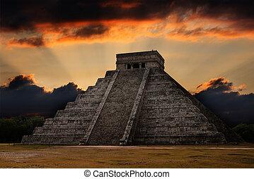 mayan, piramis, alatt, chichen-itza, mexikó