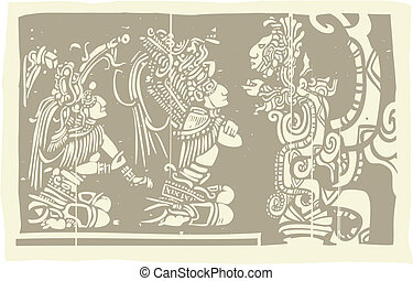 Woodblock style Mayan image with two priests and Vision Serpent