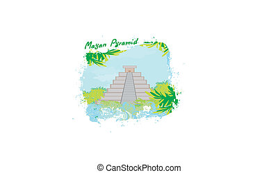 Mayan Pyramid, Chichen-Itza, Mexico - vector illustration