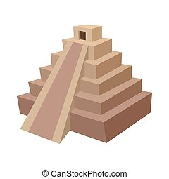 Mayan pyramid, Mexico icon, cartoon style