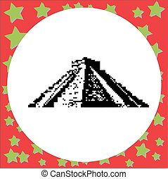 Mayan pyramid of Kukulcan El Castillo in Chichen Itza, Mexico black 8-bit  vector illustration isolated on round white background with stars