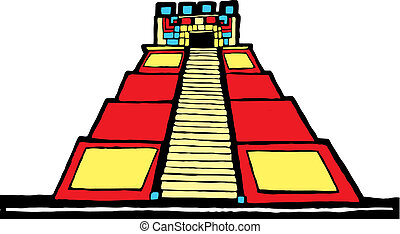 Mayan Pyramid designed after Mesoamerican Pottery and Temple...