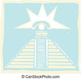 Mayan Pyramid with Venus Eye Glyph