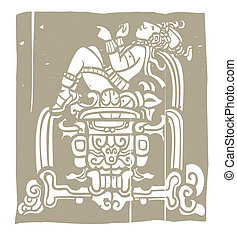 mayan, reclinar, woodblock