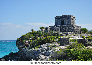 Mayan Ruins at Tulum in Mexico on the Caribbean Sea