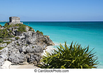 Mayan ruins in Tulum beach, Mexico