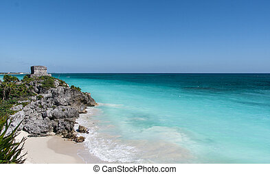 Mayan ruins in Tulum beach, Mexico - Beautiful beach with...