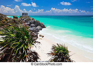 Mayan ruins in Tulum - Mayan ruins and beautiful Caribbean...