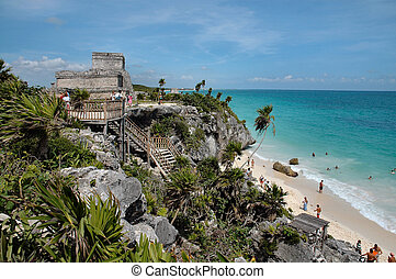 Mayan Ruins In Tulum - Mayan ruins on ocean in Tulum, Mexico