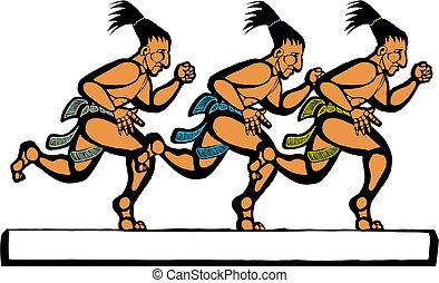 Mayan Runners - Mayan men running in a group of three.