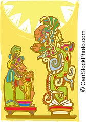 Mayan Sacrifice and Vision Serpent - Mayan Lord running rope...