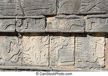 Mayan stone frieze Chichen Itza - Mayan stone frieze at...