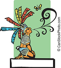 Mayan Storyteller - Mayan storyteller with speech scroll...