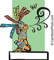 Mayan Storyteller - Mayan storyteller with speech scroll...