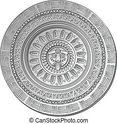 Mayan Sun stone symbol over white background