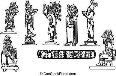 Black and white mayan temple group set derived from mayan traditional imagery.
