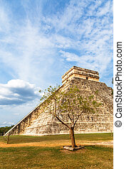 Mayan Temple of Kukulcan or the Castle, the center of the...