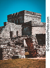 Mayan Temple of the Wind God in Tulum, Mexico