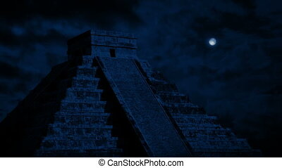 Mayan Temple With Moon Above - Moon above an ancient Aztec...