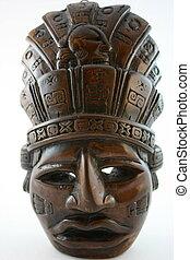mayan, vertical, máscara, esculpido
