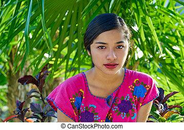 mayan, vestire, messicano, donna, latino