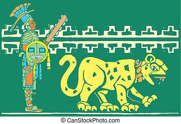 Mayan Warrior and Jaguar - Mayan warrior in full regalia...