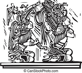 Mayan Woodcut Style 1 - Mayan warrior designed after...