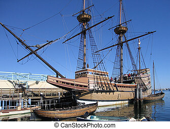 Mayflower 2nd - sunny scenery showing a sailing ship named...