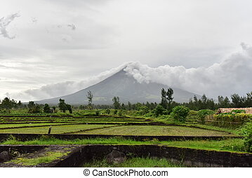 Mayon Volcano in Albay, Philippines - Mayon Volcano is an...