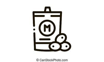 mayonnaise, animation, emballé, icône