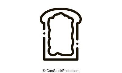 mayonnaise, animation, toast, icône