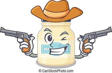 Mayonnaise Cowboy cartoon with concept having guns