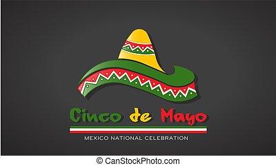 mayonnaise, de, illustration, cinco, vecteur, chapeau, celebration.