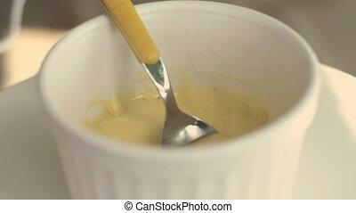 mayonnaise, mayonnaise, classique, maison, vendange, fond, fait, jaune