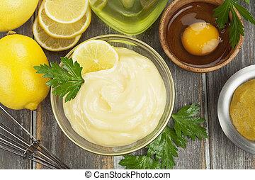 mayonnaise, mit, olivenöl, und, zitrone