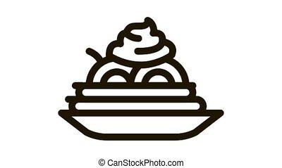 mayonnaise, plaque, icône, assaisonnement, nourriture, animation