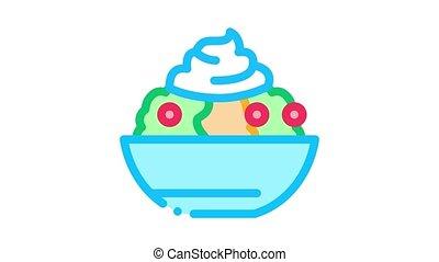 mayonnaise, salade, animation, icône