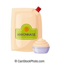 Mayonnaise sauce in foil pack with bowl cup. Mayo condiment, white cream in cartoon style. Fast food packaging template isolated on white background, vector illustration.