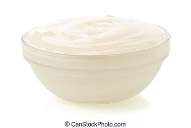 mayonnaise sauce isolated on white - mayonnaise sauce in...