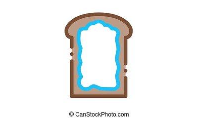 mayonnaise, toast, animation, icône