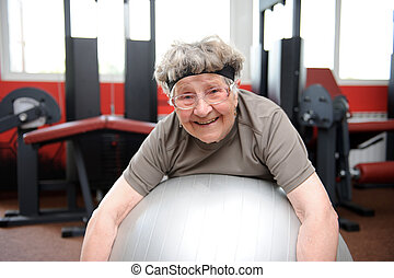mayor activo, mujer, ejercitar