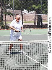 mayor activo, tenis, -, mujer