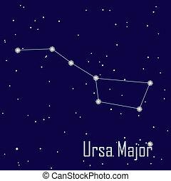 """mayor, """", estrella, sky., ilustración, vector, noche, ursa, constelación"""
