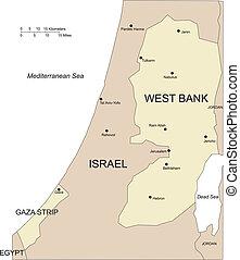 mayor, países, oeste, gaza, circundante, ciudades, banco