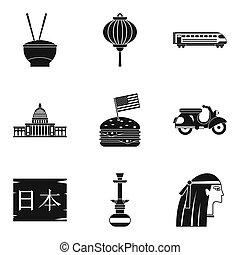mayor, religión, iconos, conjunto, simple, estilo