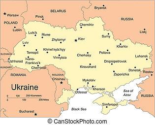 mayor, ucrania, países, circundante, ciudades capitales